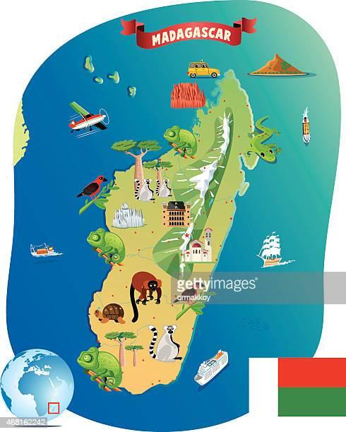 cartoon map of madagascar - madagascar stock illustrations, clip art, cartoons, & icons