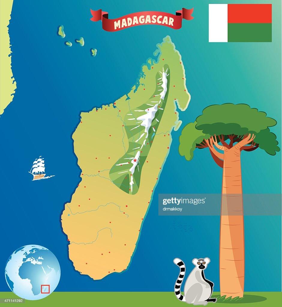 Cartoon map of Madagascar : Stock Illustration