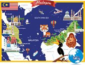 Cartoon map of Malaysia