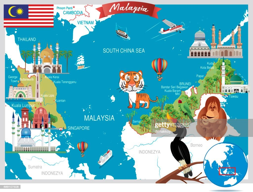 Cartoon map of Malaysia : Stock Illustration