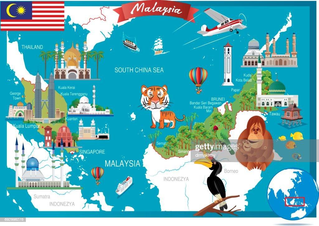 Cartoon map of Malaysia