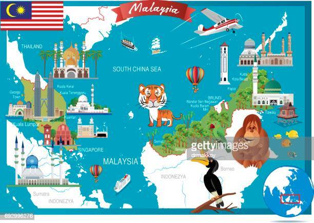 cartoon map of malaysia - malaysia stock illustrations