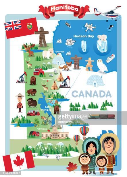 cartoon map of manitabo - flag of nova scotia stock illustrations