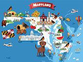 Cartoon map of MARYLAND