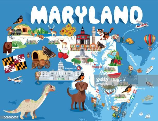 cartoon map of maryland - blue crab stock illustrations