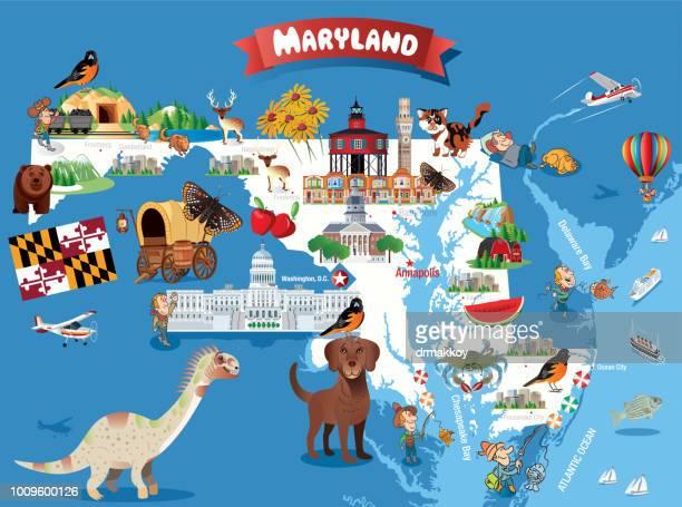 cartoon map of maryland - baltimore maryland stock illustrations, clip art, cartoons, & icons