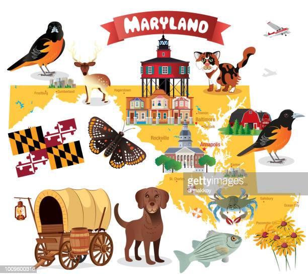 cartoon map of maryland - chesapeake bay stock illustrations, clip art, cartoons, & icons