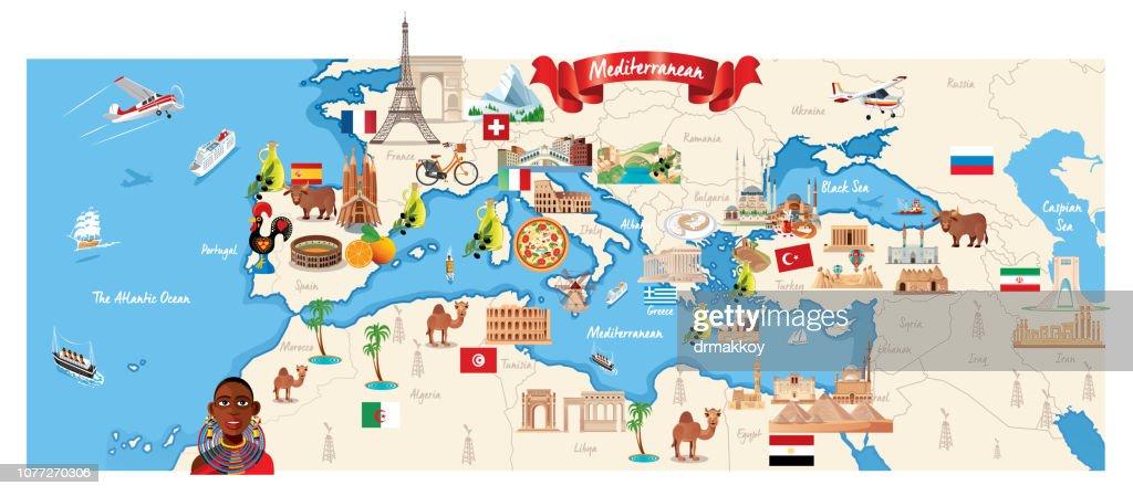 Cartoon map of Mediterranean : stock illustration