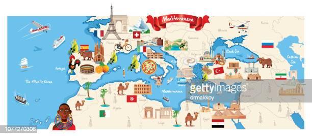 cartoon map of mediterranean - morocco stock illustrations, clip art, cartoons, & icons