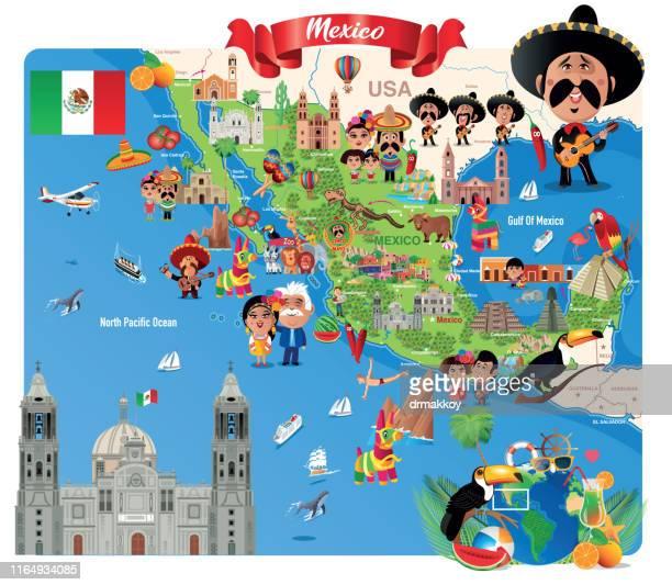 cartoon map of mexico - pinata stock illustrations
