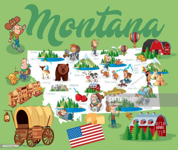 Cartoon Map of MONTANA
