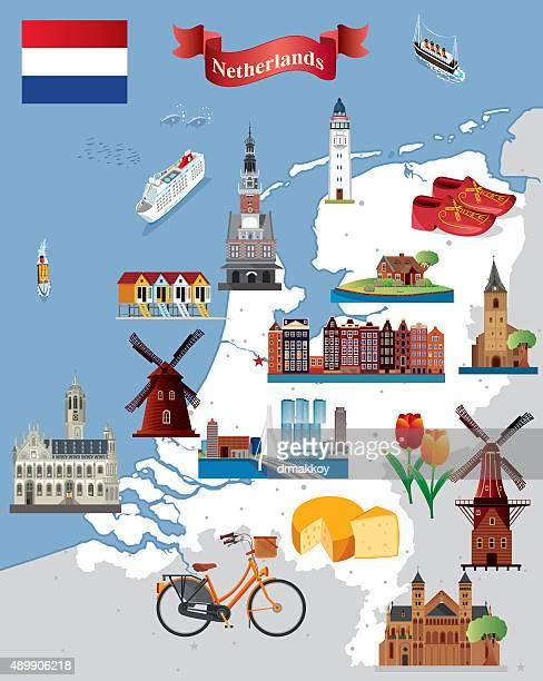 cartoon map of netherland - amsterdam stock illustrations, clip art, cartoons, & icons