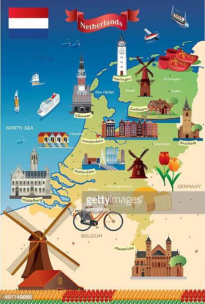 Cartoon map of Netherland