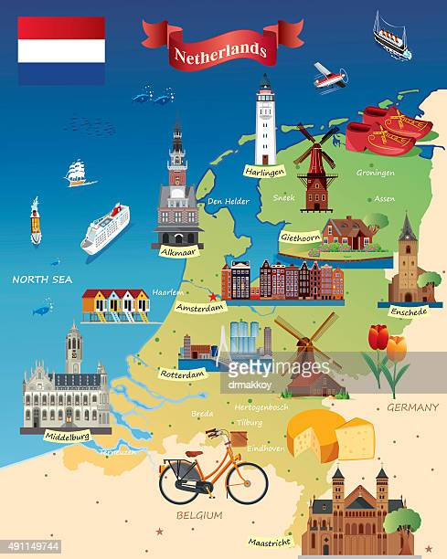 Cartoon Karte von Niederlande