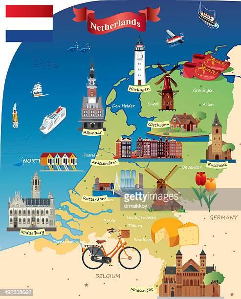 ilustraciones, imágenes clip art, dibujos animados e iconos de stock de dibujo mapa del netherland - molino de viento