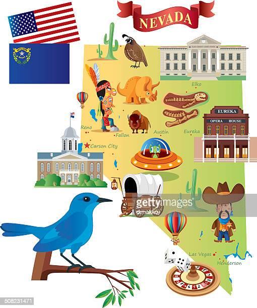 cartoon map of nevada - nevada stock illustrations