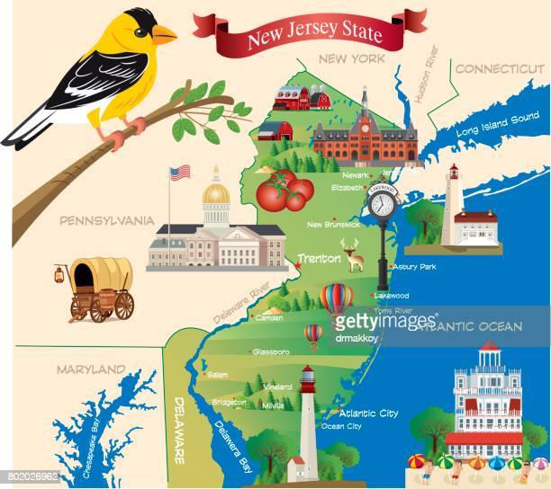 cartoon map of new jersey state - new jersey stock illustrations