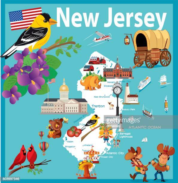 Cartoon map of New Jersey State