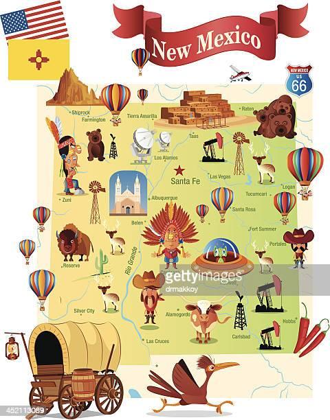 cartoon map of new mexico - santa fe new mexico stock illustrations