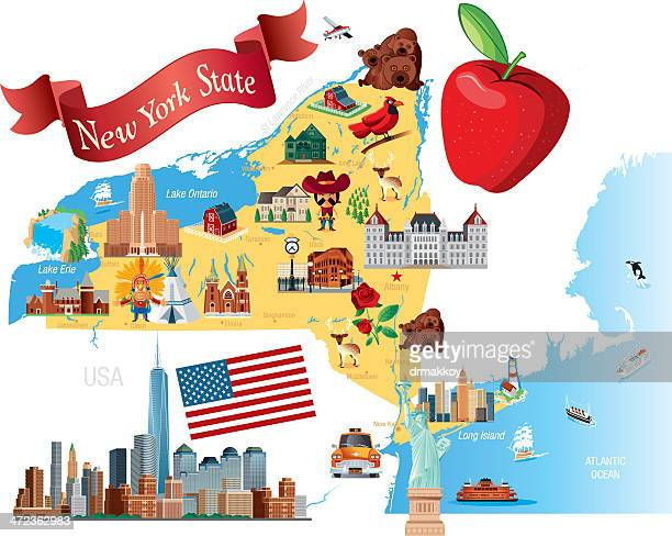 cartoon map of new york state - yellow taxi stock illustrations, clip art, cartoons, & icons