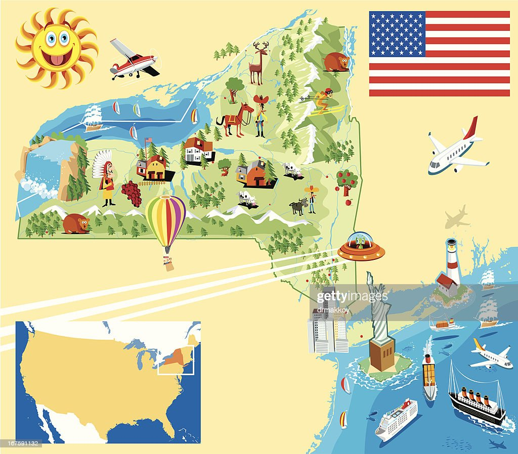 Cartoon map of New york