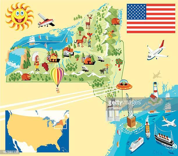 cartoon map of new york - lake erie stock illustrations, clip art, cartoons, & icons