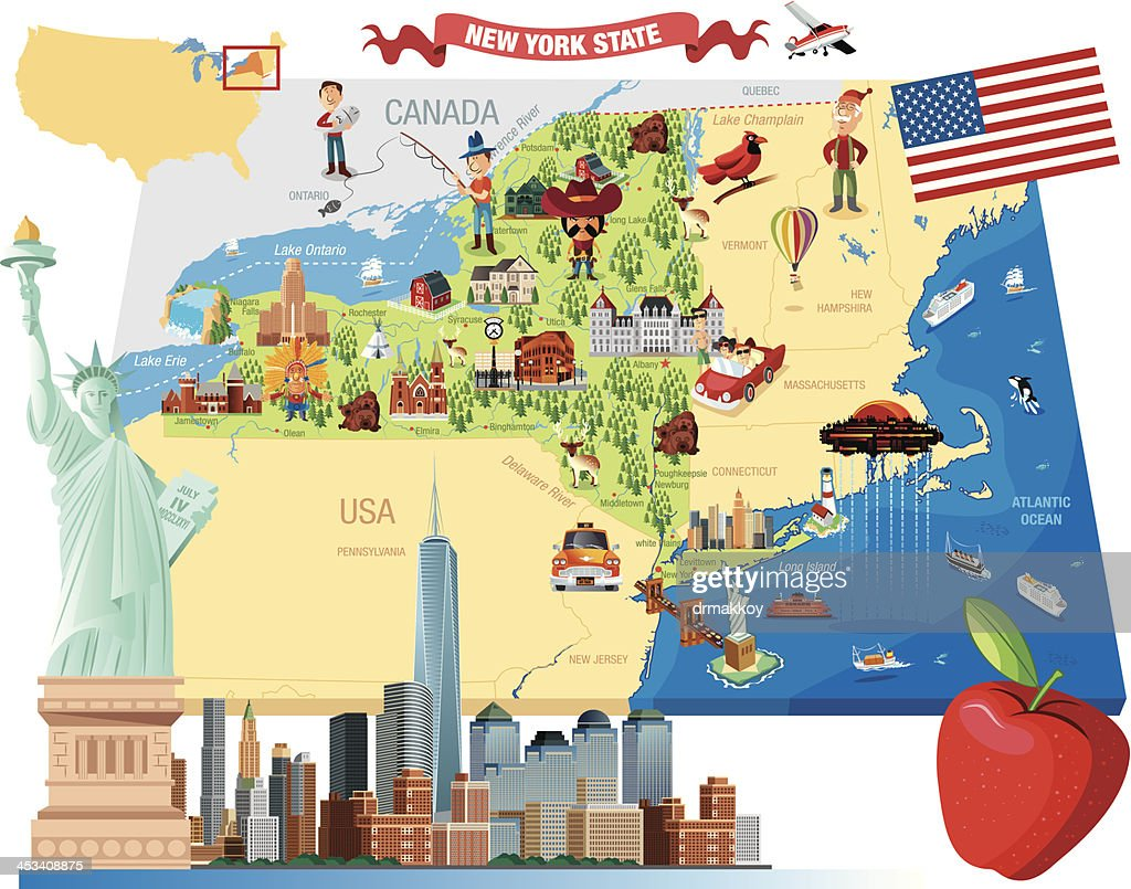 Cartoon map of New York : stock illustration