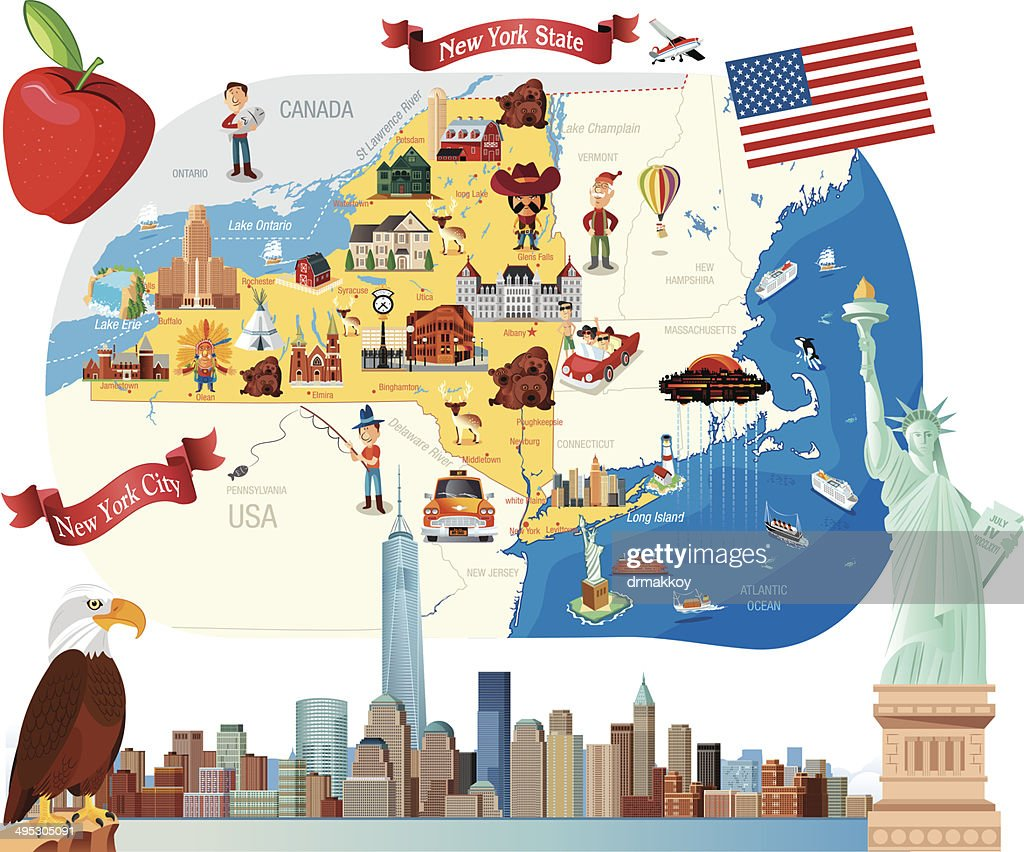 Cartoon Map Of New York Vector Art | Getty Images