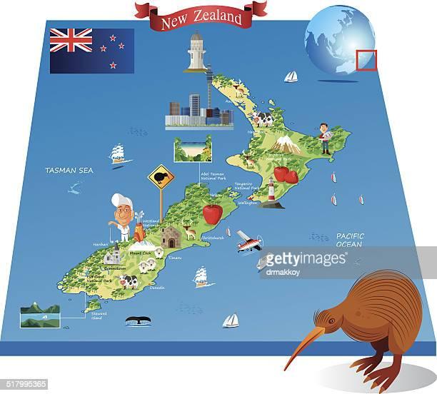 Cartoon map of New Zealand