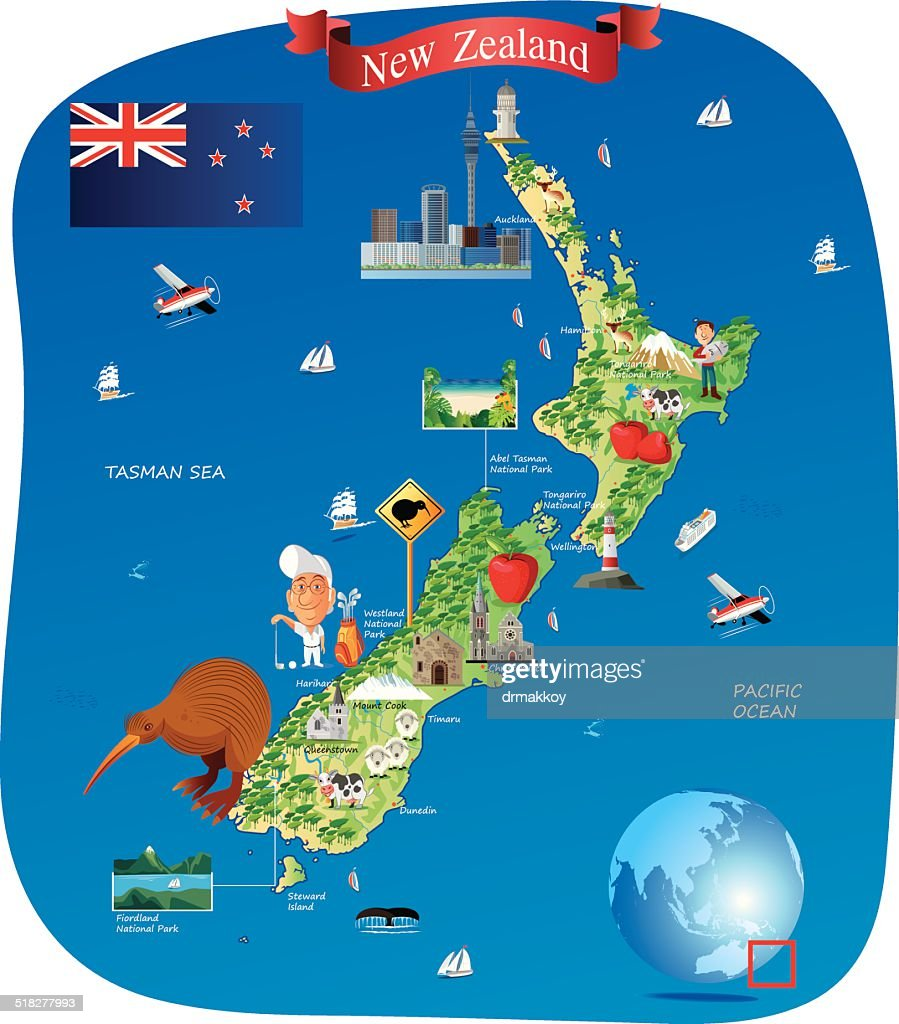 Cartoon map of new zealand vector art getty images cartoon map of new zealand vector art gumiabroncs Image collections