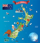 Cartoon map of New Zealand