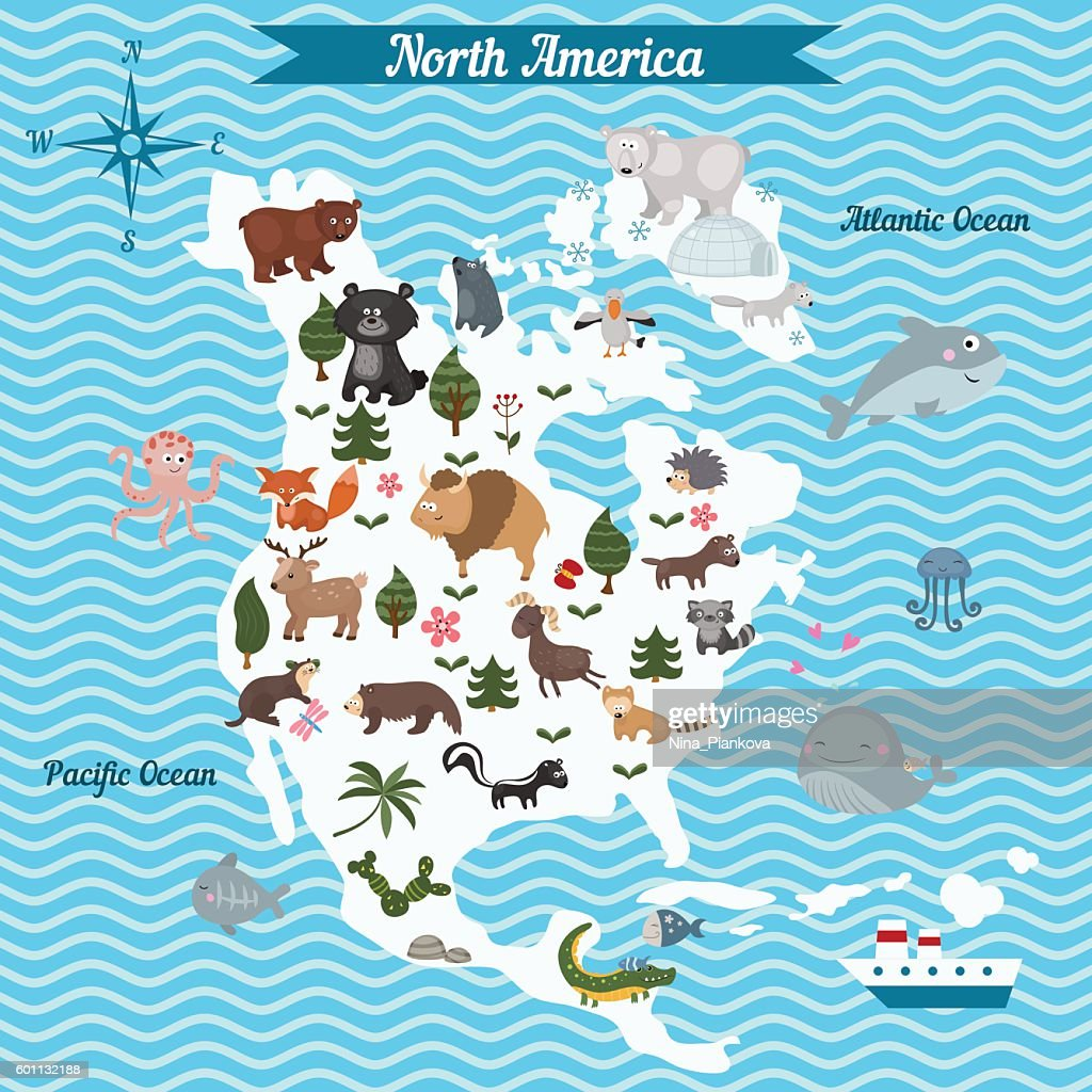 Cartoon map of North America continent with different animals.