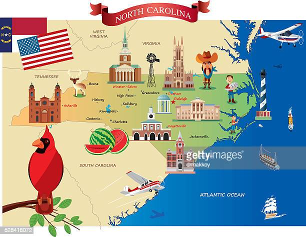 Cartoon map of North Carolina