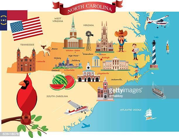 cartoon map of north carolina - north carolina us state stock illustrations