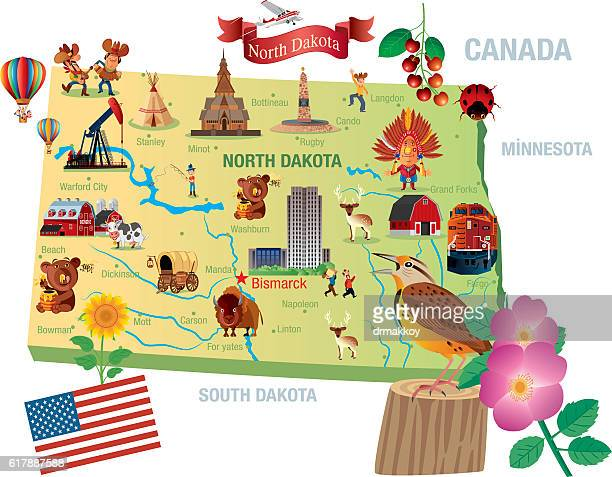 cartoon map of north dakota - bismarck north dakota stock-grafiken, -clipart, -cartoons und -symbole
