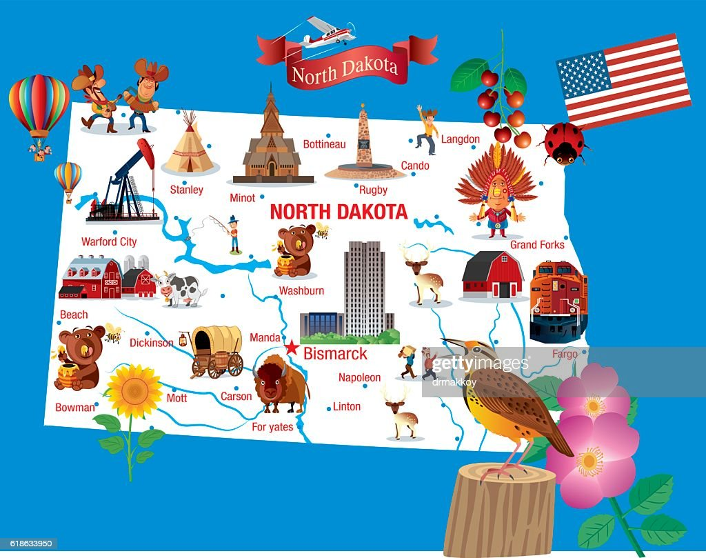 Cartoon Map of North Dakota