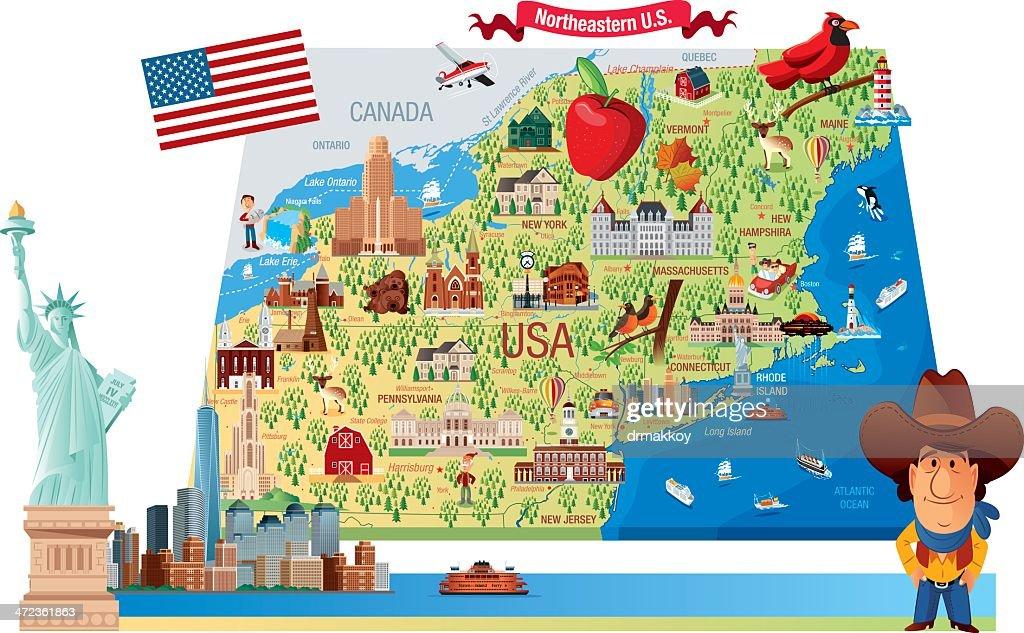 Cartoon Map Of Northeastern Us Vector Art Getty Images - Map of northeastern us