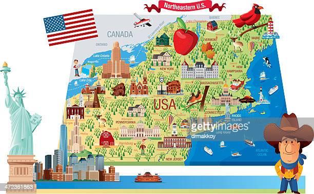 cartoon map of northeastern u.s. - hartford connecticut stock illustrations, clip art, cartoons, & icons