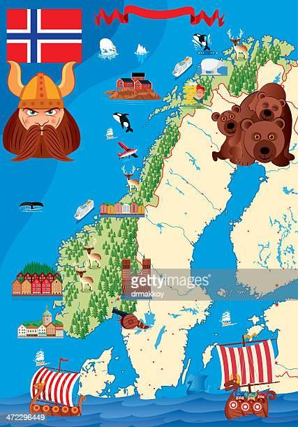 Cartoon Karte von Norwegen