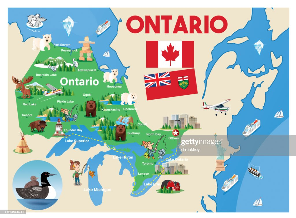 Cartoon Map Of Ontario High-Res Vector Graphic - Getty Images