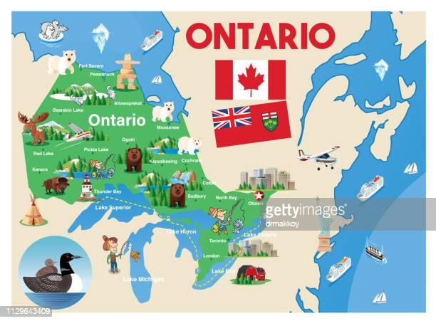cartoon map of ontario - ontario canada stock illustrations
