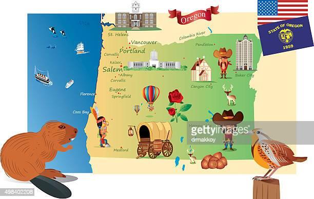 cartoon map of oregon - salem oregon stock illustrations