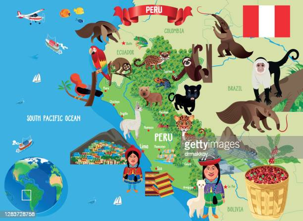 ilustraciones, imágenes clip art, dibujos animados e iconos de stock de mapa de dibujos animados de peru - especies amenazadas