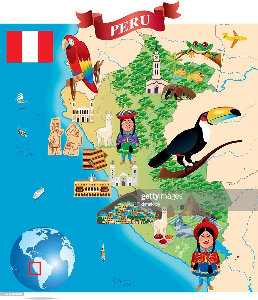 Cartoon Map Of Peru Vector Art Getty Images - Map of peru