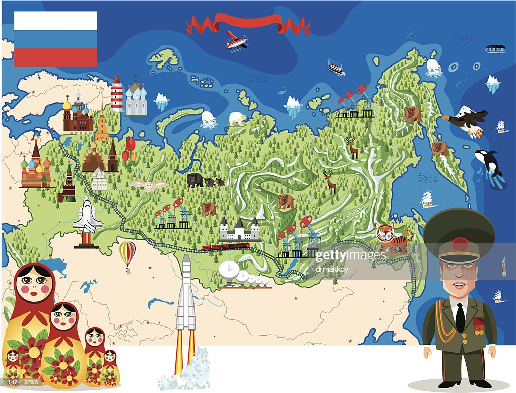 Cartoon map of Russia