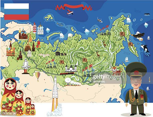 cartoon karte von russland - georgien stock-grafiken, -clipart, -cartoons und -symbole