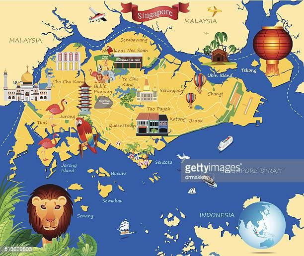 カットイラスト、マップの singapure - シンガポール国旗点のイラスト素材/クリップアート素材/マンガ素材/アイコン素材