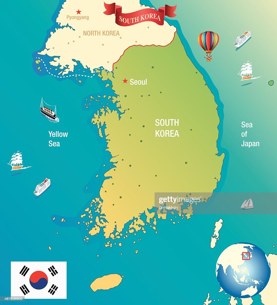 Cartoon Map Of South Korea Vector Art Getty Images