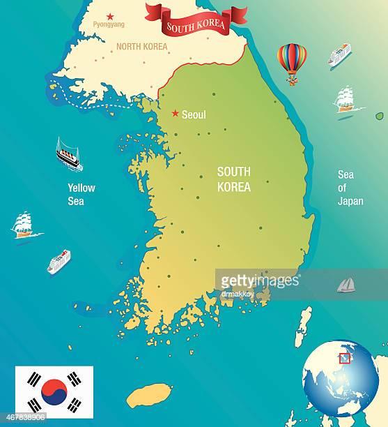 Südkorea Karte.South Korea Vektorgrafiken Und Illustrationen Getty Images