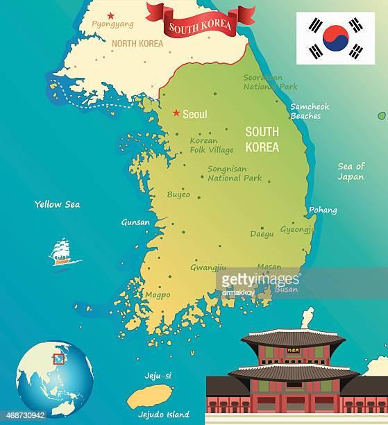 cartoon map of south korea - seoul stock illustrations, clip art, cartoons, & icons